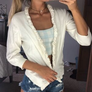 White Ruffled  Button Up Cardigan